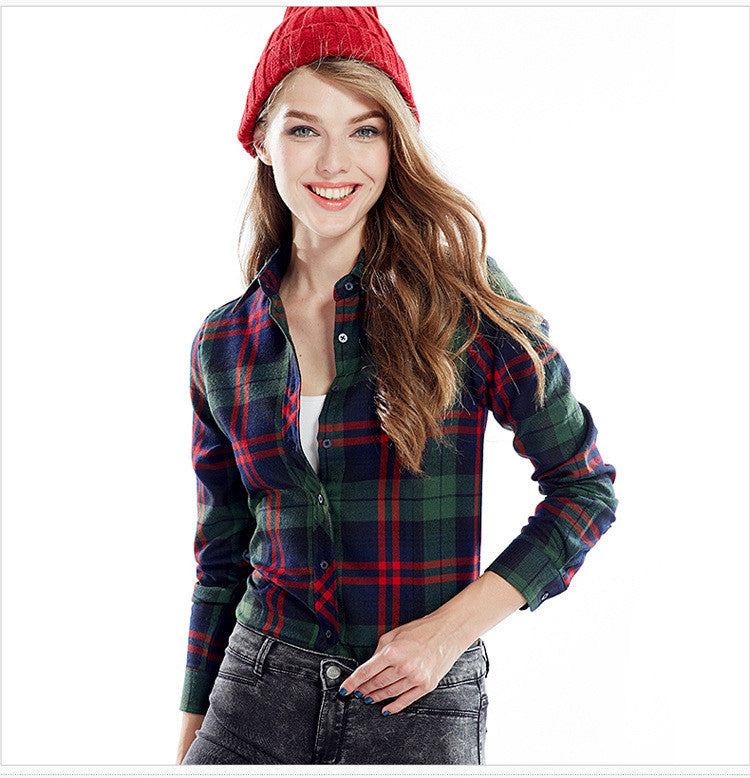 Slim Plaid Long Sleeves Turn-down Collar Shirt Blouse