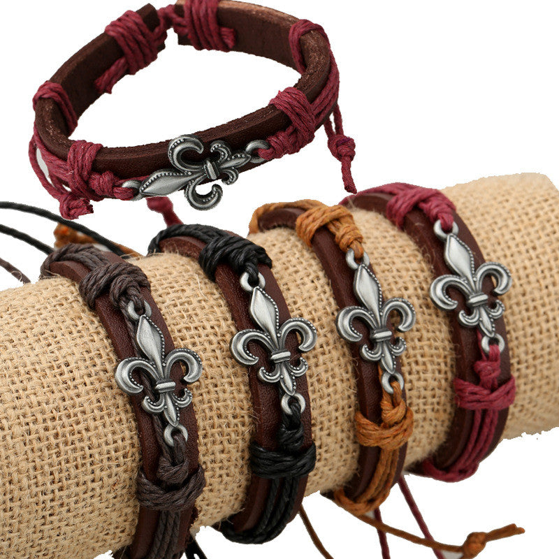 Alloy Flower Decorate Woven Leather Bracelet Set