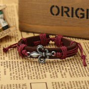 Alloy Flower Decorate Woven Leather Bracelet