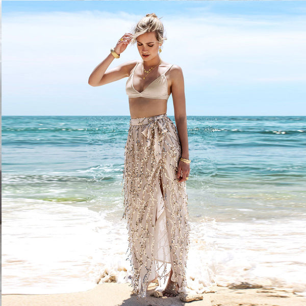 Sequins Tassel Mesh Long Beach Skirt
