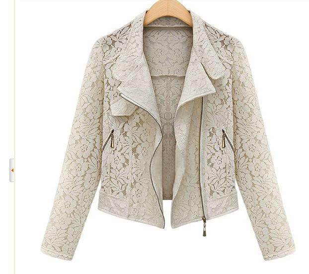 Hollow Lapel Double Zippers Lace Long Sleeves Short Coat - Meet Yours Fashion - 5