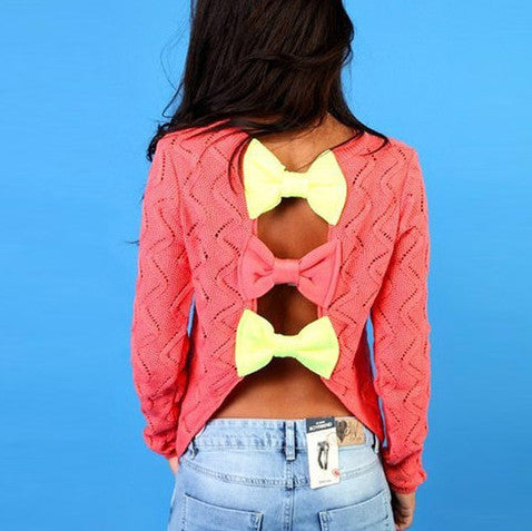 Hollow Out Back Bow Knitted Sweater - MeetYoursFashion - 1