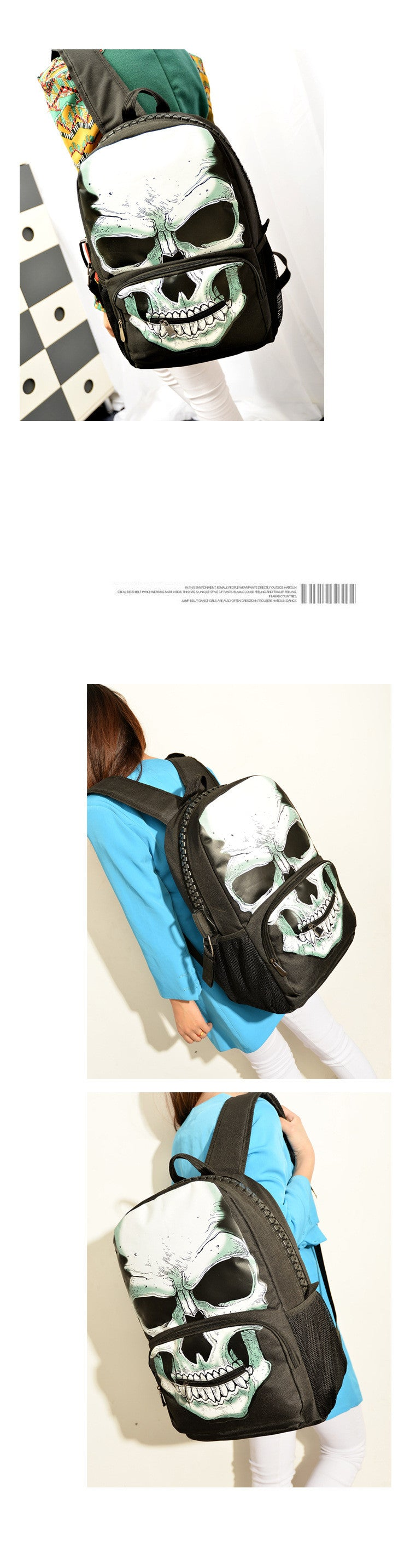 High-Capacity Fashion Skeleton Multiple Pockets School Backpack Bag