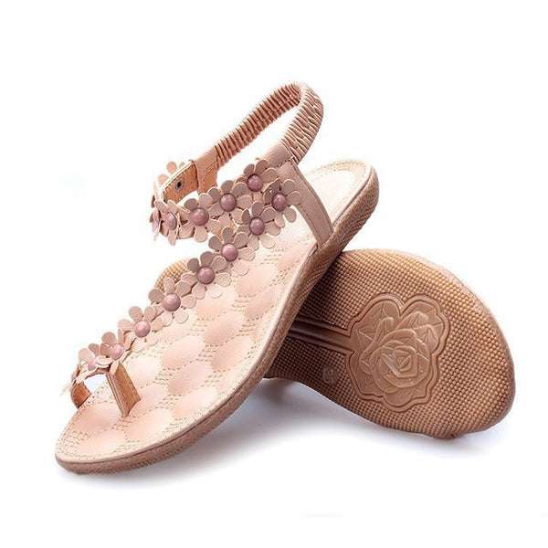 Women Bohemia Flower Beads Flip-flop Shoes Flat Sandals - MeetYoursFashion - 4