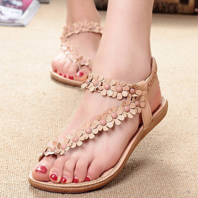 Women Bohemia Flower Beads Flip-flop Shoes Flat Sandals - MeetYoursFashion - 1