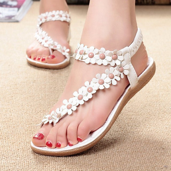 Women Bohemia Flower Beads Flip-flop Shoes Flat Sandals - MeetYoursFashion - 2