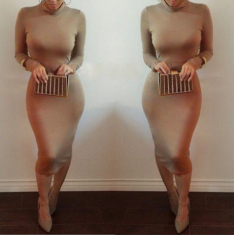 High Neck Long Sleeves Bodycon Pure Color Party ClubDress - MeetYoursFashion - 11