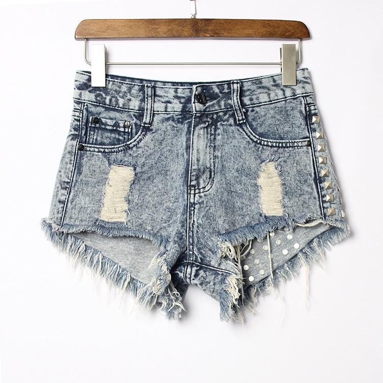 Rivet Rough Edges Loose Ripped Holes Hot Denim Shorts - Meet Yours Fashion - 5