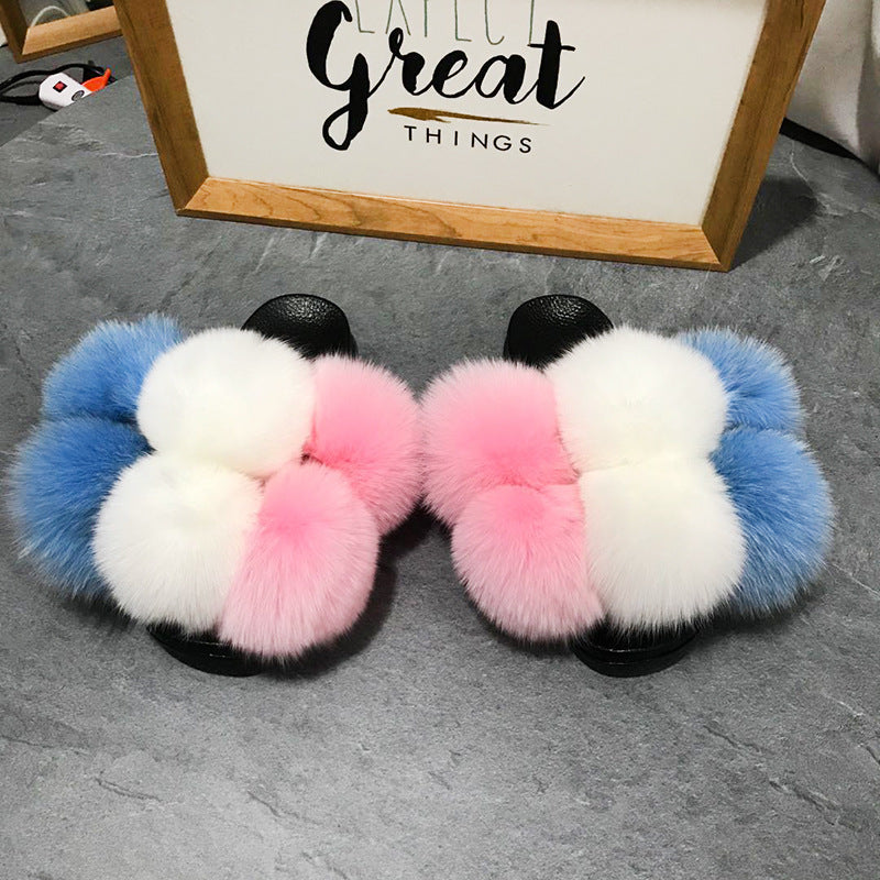 Color Matching Large Fur Real Natural Fox Fur Slides Colorful Fluffy Fur Slides Sandals Slippers Fashion Women Shoes