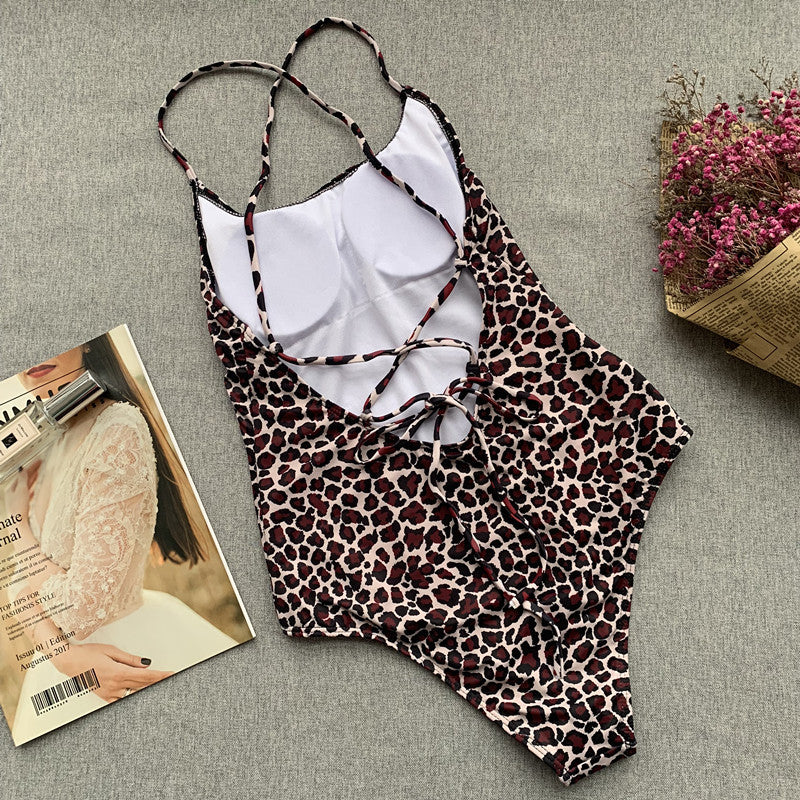 Leopard Strappy Backless Low Back High Cut Swimsuit