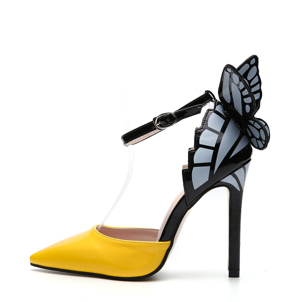 Pointed hollow butterfly sandals thin heel super high heel women's shoes
