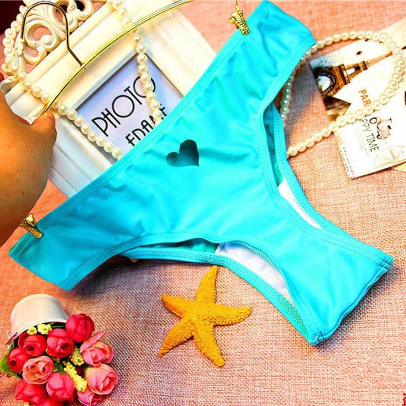 T-back Heart Shape Cut Out Thong Bikini G-string Bottom