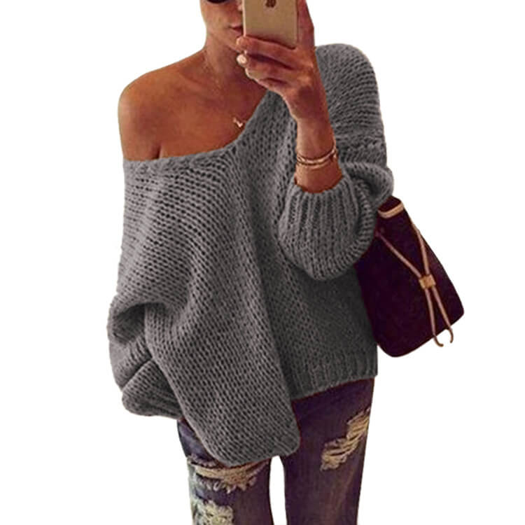 Loose Pullover Knit Solid Color Sweater