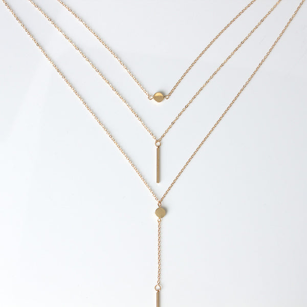 Three Layers Paillette Strip Pendant Necklace