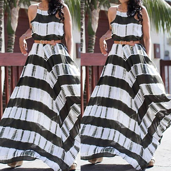 Beautiful Stripe Spaghetti Strap Long Dress