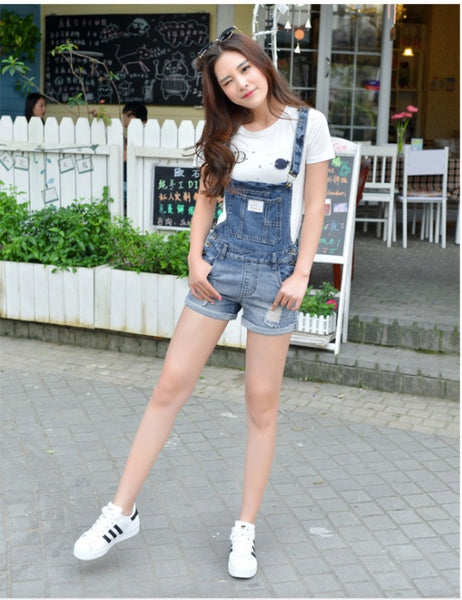 Denim Button Casual Pocket Pure Color Romper