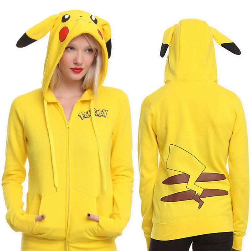 Cartoon Pikachu Loose Cardigan Hooded Long Sleeve Sweater