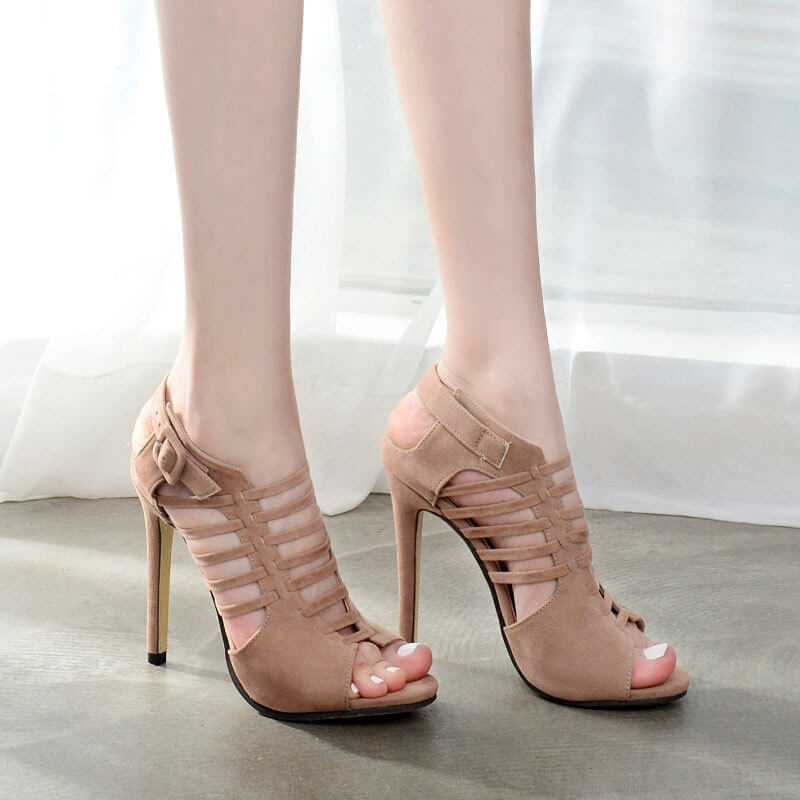 Hollow Straps Back Zipper Black Stiletto High Heel Sandals