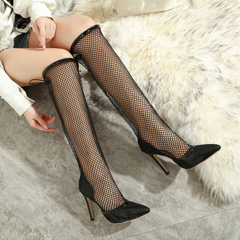 Versatile hollow mesh over the knee stiletto boots cool boots