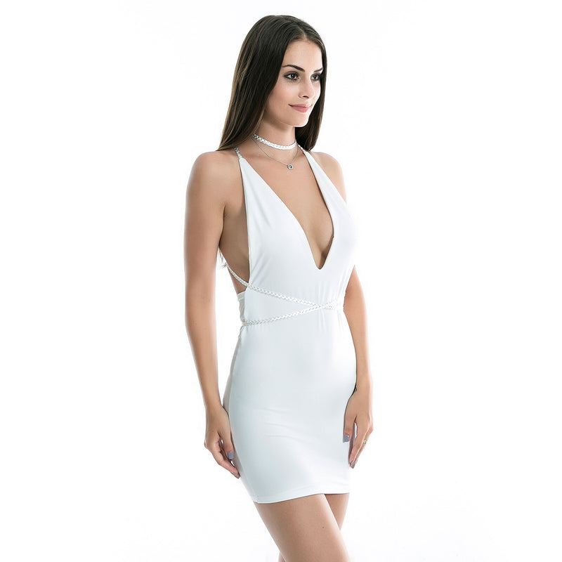 Women Sleeveless Bandage Blackless Bodycon Dress