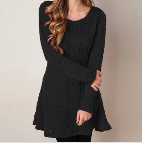 Knitting Round Neck Long Sleeve Sweater Dress