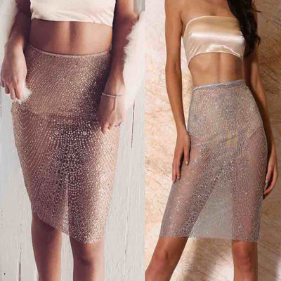 Sexy Hollow Out Embroidery Sequins Short Skirt