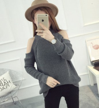 High Neck Bare Shoulder Pure Color Knit Blouse
