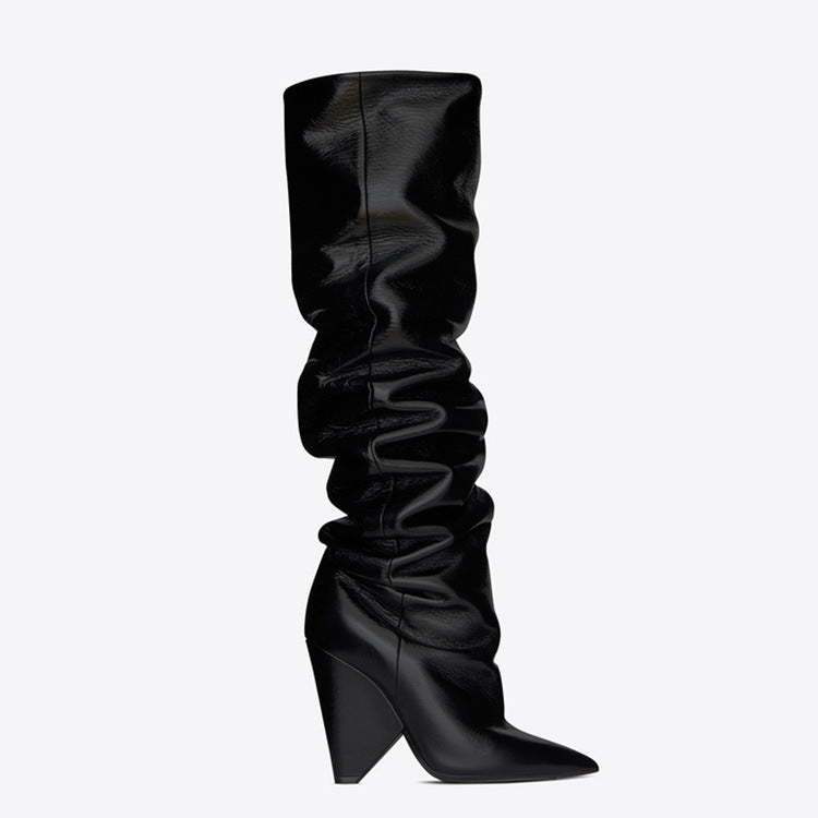 Pleated Long Tube Shaped Heel Pointed Boots