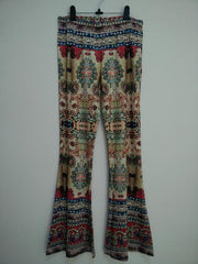 Skinny Flower Print Fashion Bell-bottom Retro Pants