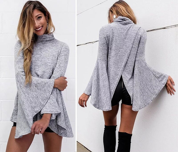 Bell Sleeve Back Slitting High Neck Sweater