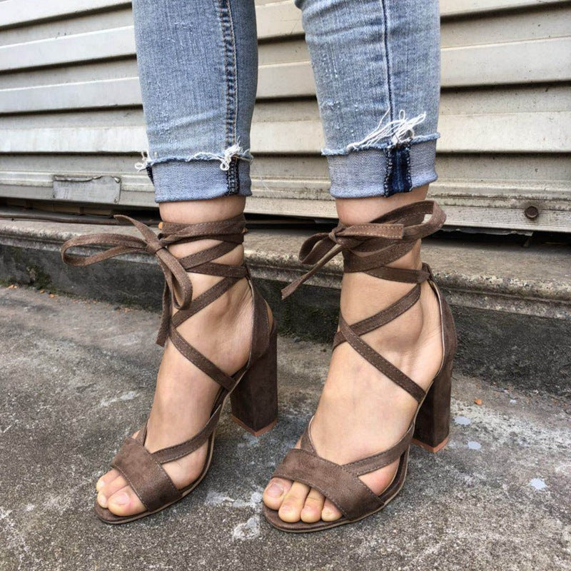 f24843efc921 Open Toe Ankle Wraps Lace Up Chunky Heels Sandals – MeetYoursFashion