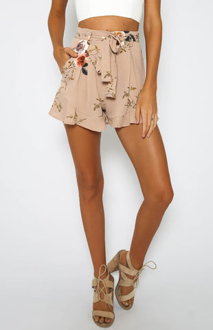 Floral Print High Waist Casual Loose Shorts