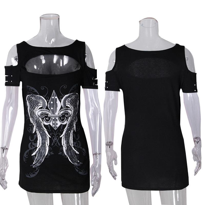 Print Cut Out Bear Shoulder Slim T-shirt