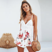Deep V-neck Spaghetti Straps Backless Print Romper