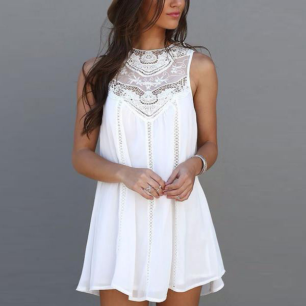 Sleeveless Crochet Hollow Shift Short Loose Dress - Meet Yours Fashion - 1