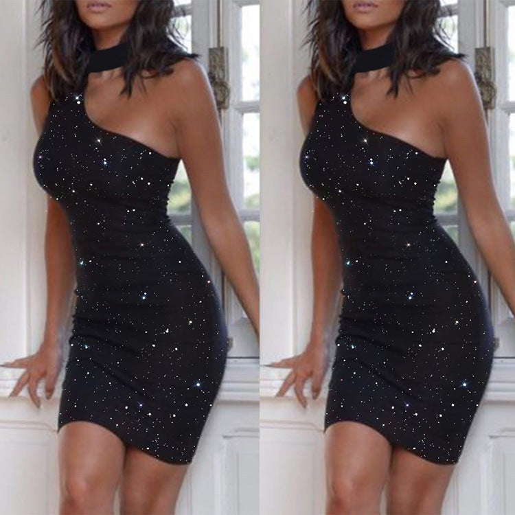 Ironed Diamond Sleeveless One Shoulder Neck Dress