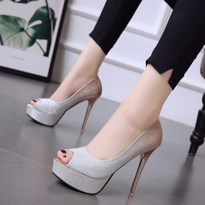 New Trends Shinning Peep Toe Super High Stiletto Heel Sandals