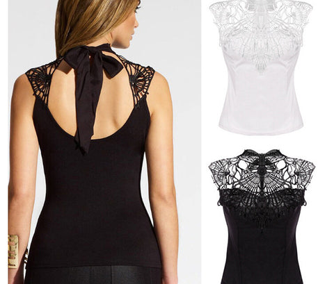 Lace Patchwork Sleeveless Sheath Hollow Out High Neck Chiffon Blouse