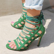 Cage Lace Up Single Sole Heels - Meet Yours Fashion - 8