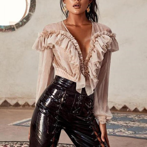Zipper V-neck Fabala Long Sleeves Ruffles Bodysuit
