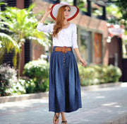 Denim Blue Elastic Waist Pleated Long Skirt With Belt On