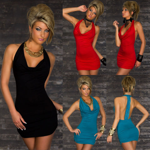 Lace Spliced Backless Bodycon Sexy Plunging Neck Dress For Women