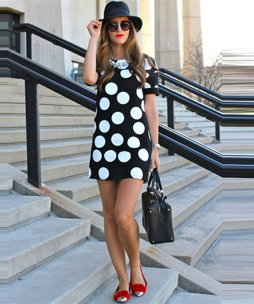 Print Scoop Short Sleeves Loose Short Dress