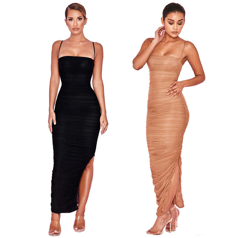 Strap Split Tight Pleat Midi Dress
