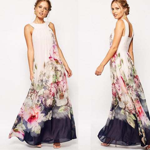 Floral Sleeveless Evening Party Long Maxi Dress - Meet Yours Fashion - 1