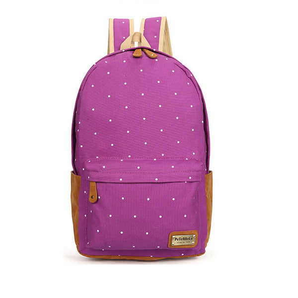 Polka Dot Candy Color Canvas Backpack School Bag - Meet Yours Fashion - 5