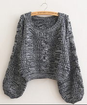 Cable Sleeve Coarse Yam Pure Color Pullover Sweater - Meet Yours Fashion - 8