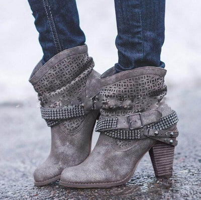 Chunky Heel Sequins Ankle Boots