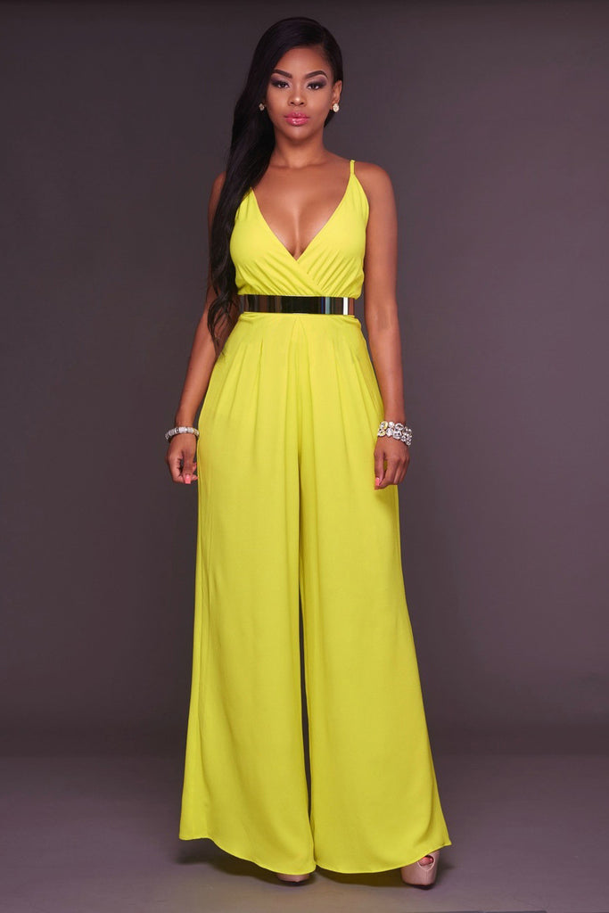 Candy Color Spaghetti Straps V-neck High Waist Long Wide Legs Jumpsuit