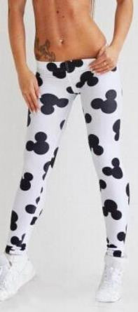 Mickey Flower Print Low Waist Skinny Leggings